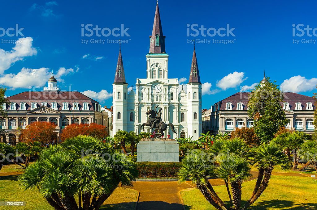 Jackson Square with Saint Louis Cathedral in New Orleans stock photo