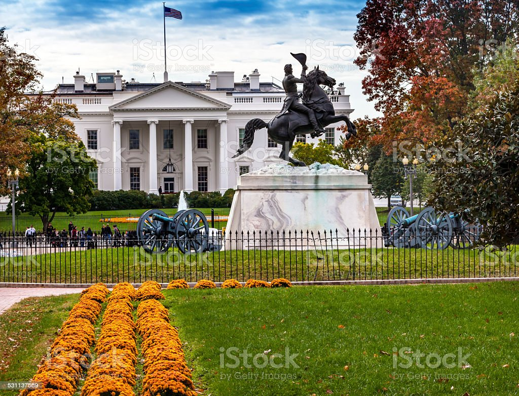 Jackson Statue Canons Lafayette Park White House Autumn Pennsylv stock photo