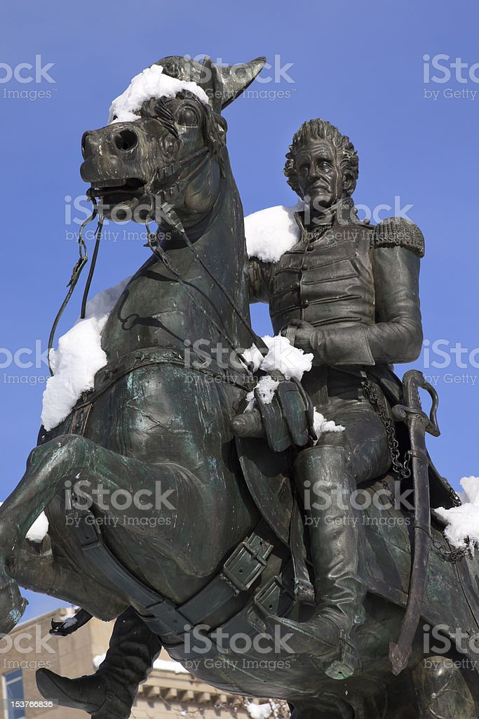 Jackson Statue Lafayette Park After Snow Washington DC stock photo