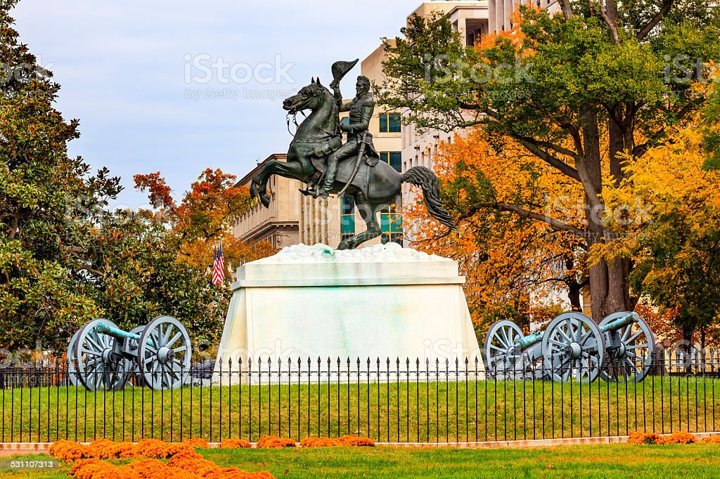 Jackson Statue Lafayette Park Autumn Pennsylvania Ave Washingon DC USA stock photo