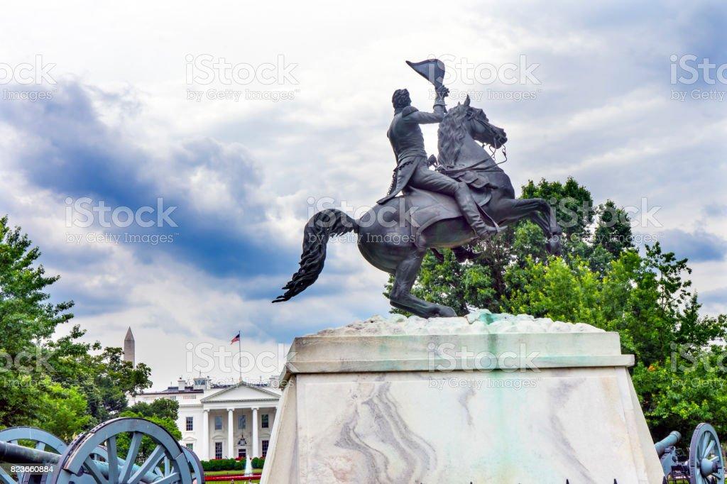 Jackson Statue Lafayette Park White House Pennsylvania Ave Washington DC stock photo