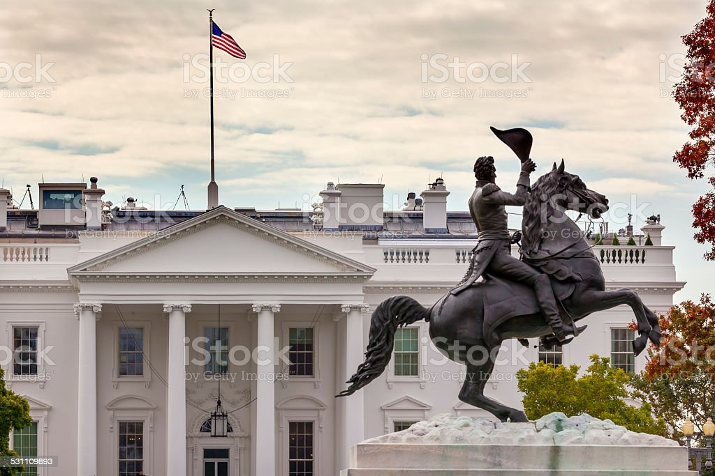 Jackson Statue Lafayette Park White House Pennsylvania Avenue Washington DC stock photo