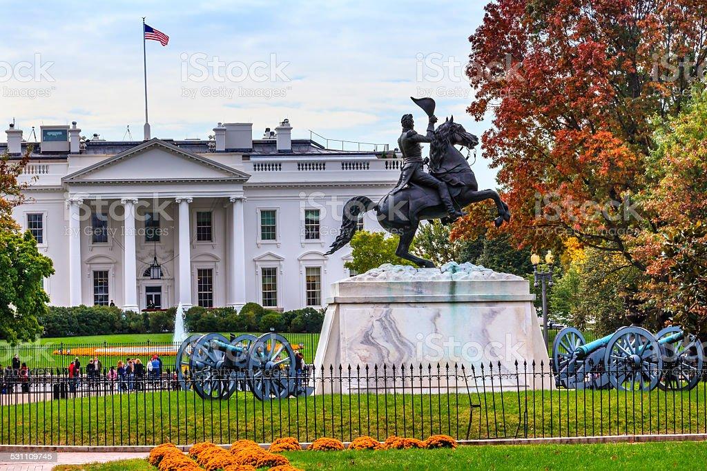 Jackson Statue Lafayette Park White House Washington DC stock photo