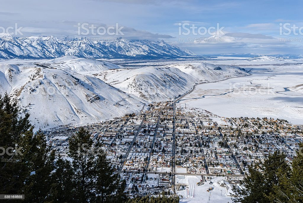 Jackson Wyoming and Teton Valley stock photo