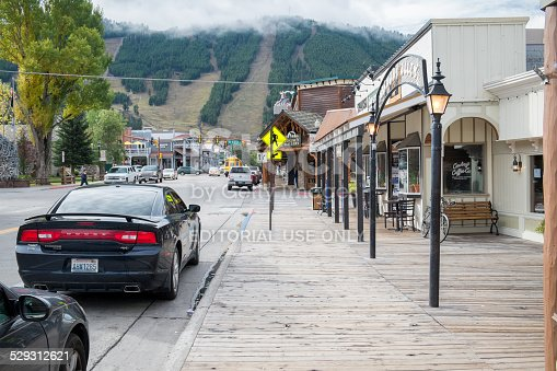 Jackson, WY, USA – October 1, 2014: US Highway 89 and Jackson Town Square. Jackson is a gateway for downhill skiing and for tourists visiting Grand Teton and Yellowstone.