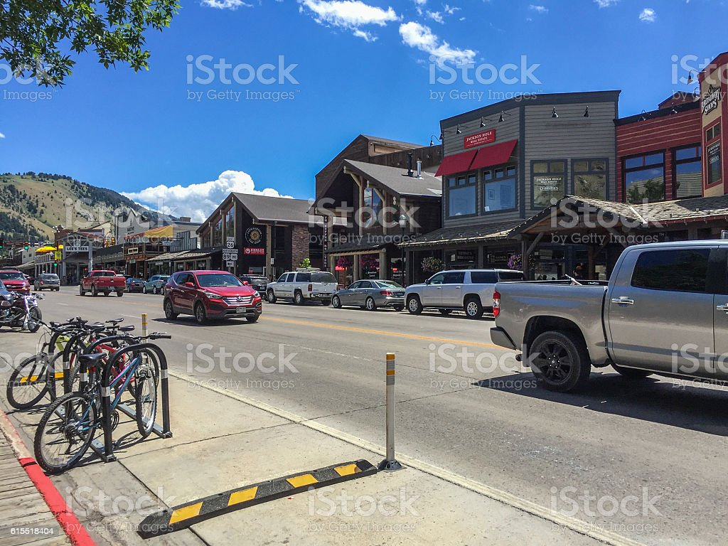 Jackson, Wyoming. Street with old houses and cars stock photo