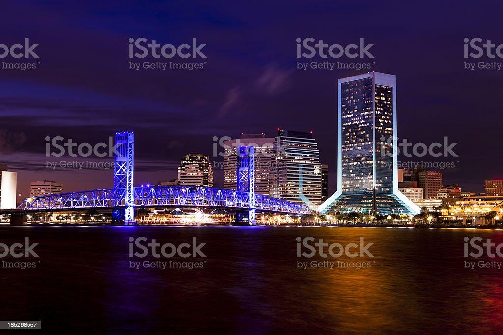 Jacksonville Florida skyline at night stock photo