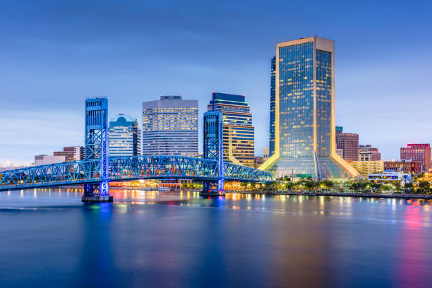 Jacksonville, Florida, USA downtown city skyline stock photo