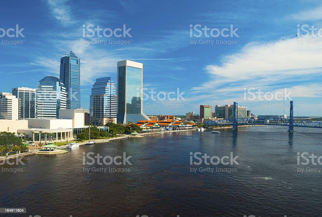 Jacksonville Skyline and Main Street Bridge aerial stock photo