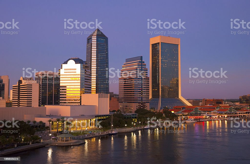 Jacksonville skyline at sunset / dusk stock photo