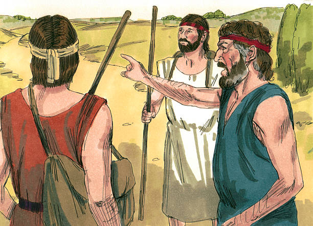 Jacob Worries About Meeting Esau stock photo
