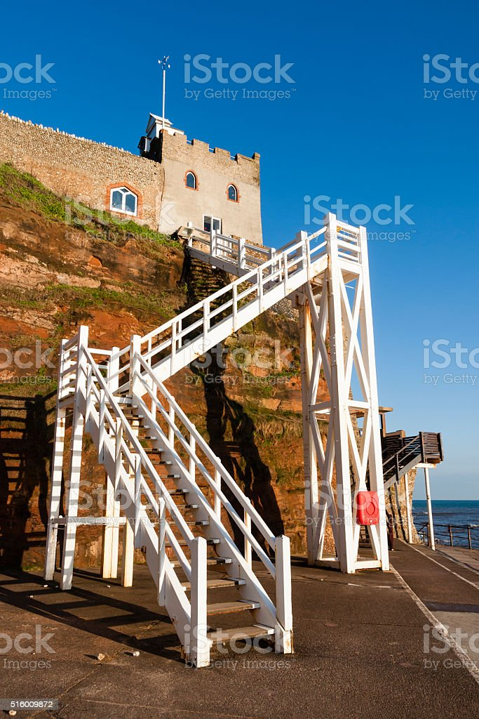Jacobs Ladder beach entrance steps in Sidmouth, Devon, England stock photo