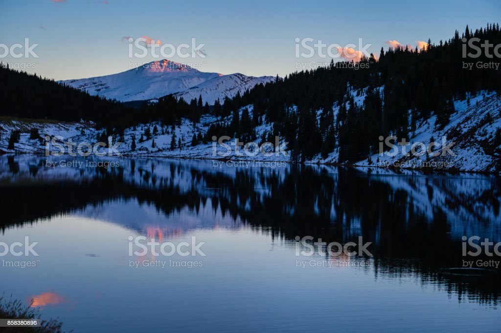 Jacque Peak Tenmile Range Lake Reflection Sunset stock photo