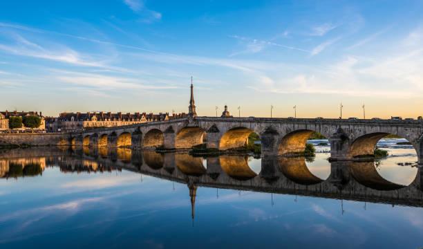 Jacques-Gabriel Bridge over the Loire River in Blois, France stock photo
