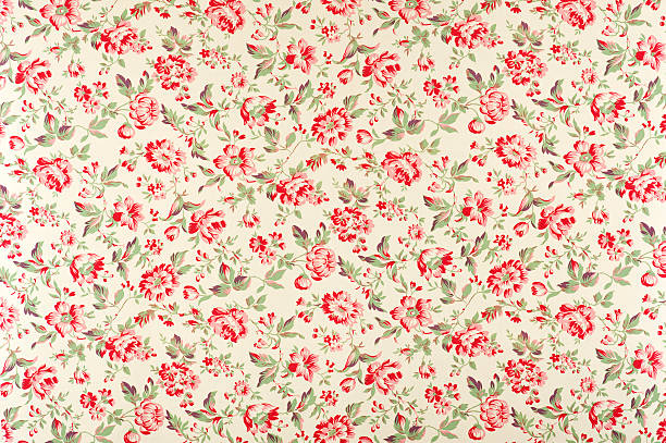 jacquline floral antique fabric - floral pattern stock photos and pictures