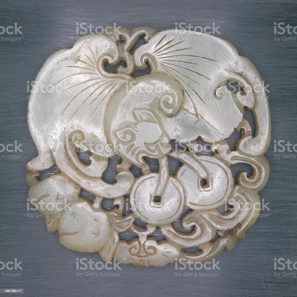 jade carved 'fu lu shou', stock photo