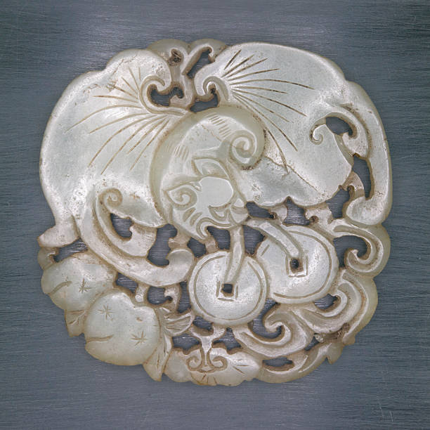 jade carved 'fu lu shou', stock photo