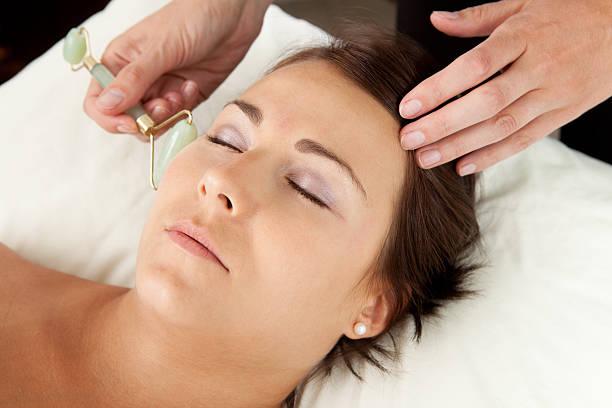 Jade Roller on Massage stock photo