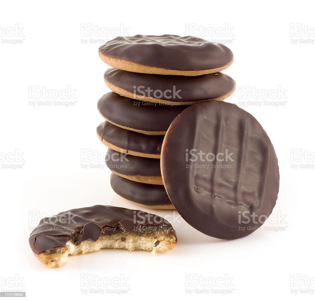Jaffa cake sweet snacks stack isolated on a white background stock photo