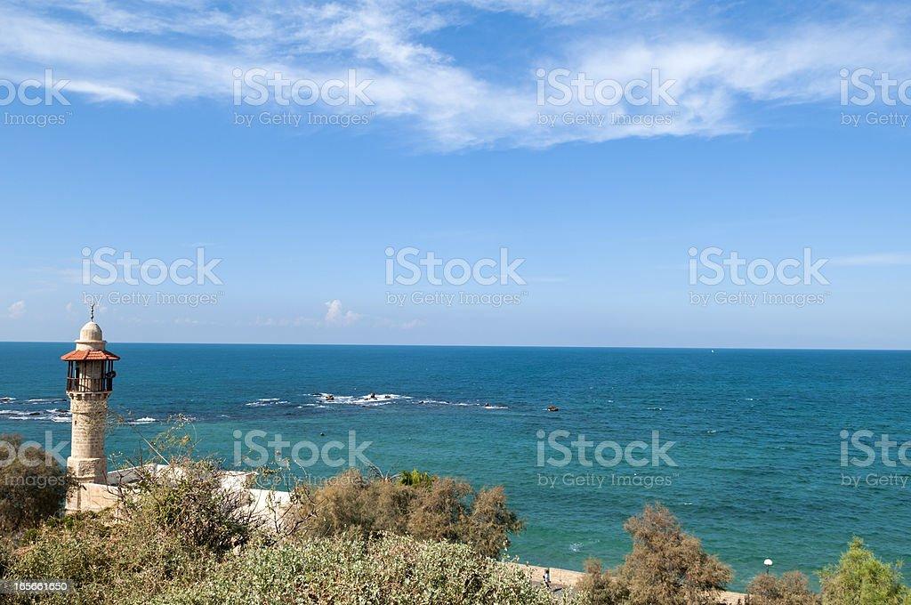 Jaffa minaret and sea in Israel royalty-free stock photo