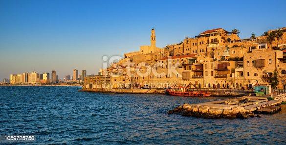 Jaffa historical Old Town and Tel Aviv city modern skyline, Israel