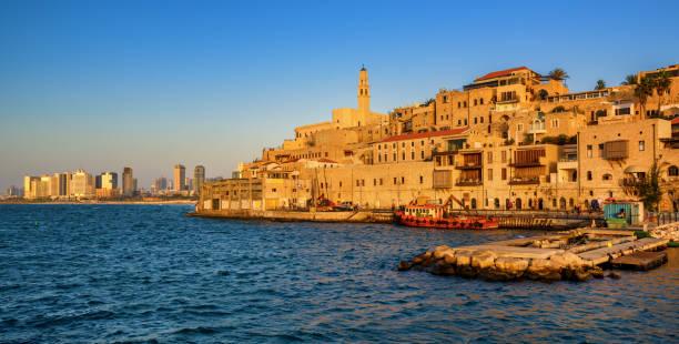 horizonte da cidade velha de jaffa e tel aviv, israel - israel - fotografias e filmes do acervo