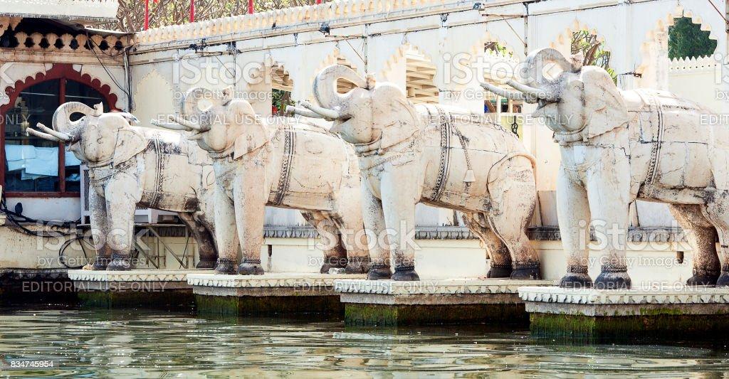 Jag Mandir elephants, Lake Pichola, Udaipur, Rajasthan, India stock photo