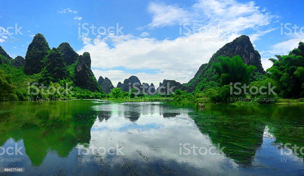 Jagged mountains of Yangzhou China stock photo