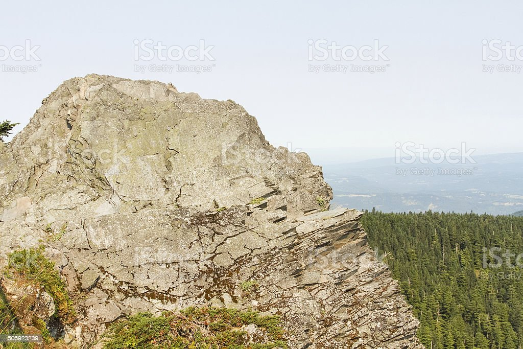 Jagged Rock Cliff Overlooks Gorge royalty-free stock photo