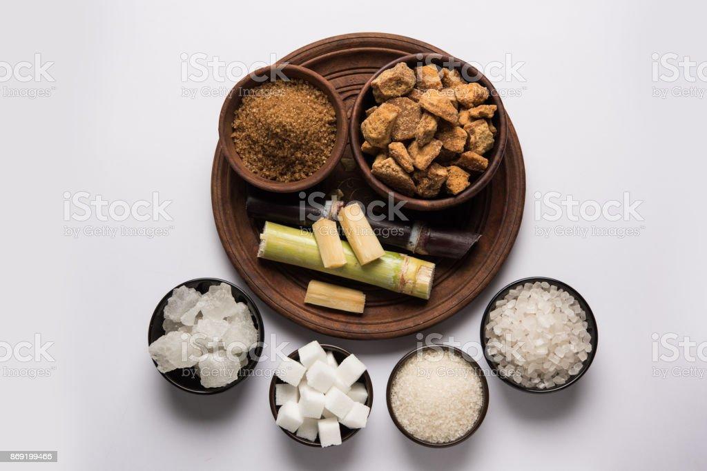 Jaggery, Sugar and cane stock photo