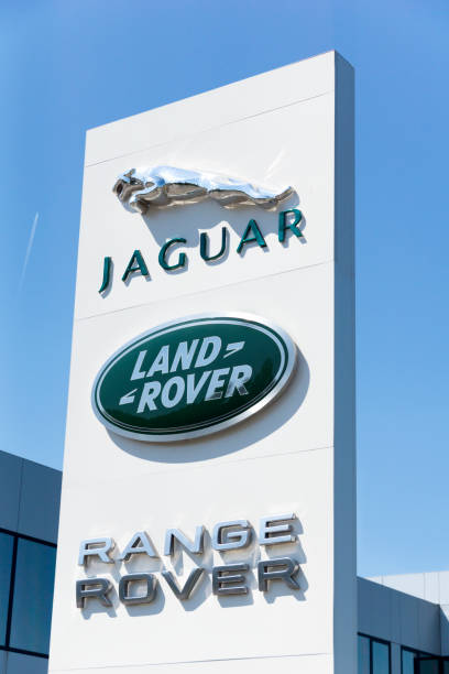 Jaguar and Land Rover cars sign outdoors,