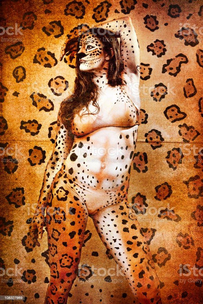 Jaguar Body Paint royalty-free stock photo