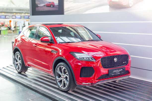 Jaguar E-Pace R-dynamic sport version exhibited at Kiev internatiol airport Boryspil Boryspil  airport, Kiev, Ukraine - January 26, 2018: Jaguar E-Pace R-dynamic sport version exhibited at Kiev internatiol airport Boryspil. jaguar car stock pictures, royalty-free photos & images