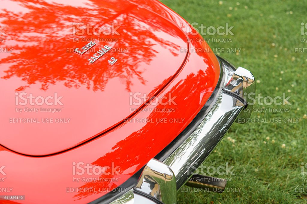 Jaguar E-Type Roadster classic British sports car detail stock photo