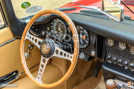 jaguar etype roadster classic british sports car interior stock photo more pictures of 1960. Black Bedroom Furniture Sets. Home Design Ideas