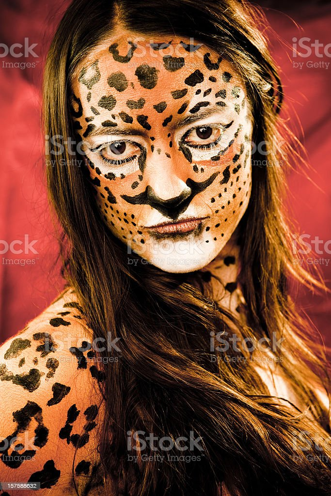 Jaguar Face and Body Paint royalty-free stock photo
