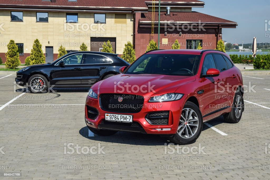 Jaguar F-Pace and Porsche Macan stock photo