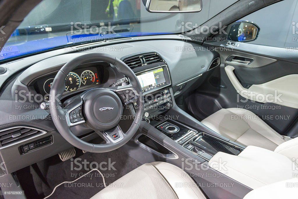 Jaguar F Pace Crossover SUV Interior Royalty Free Stock Photo