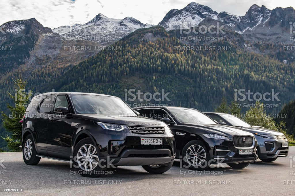 Jaguar F-Pace, Land Rover Discovery 5 and Range Rover Evoque stock photo