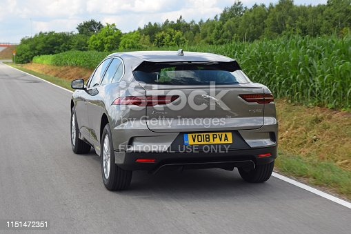 Radom, Poland - 12 July, 2018: Jaguar I-Pace driving on the road. This vehicle is the first full electric and mass-produced car from Jaguar.