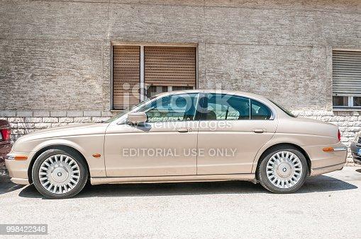 Novi Sad, Serbia. July - 11. 2018. Jaguar S Type V6 Classic Saloon car parked on the street.