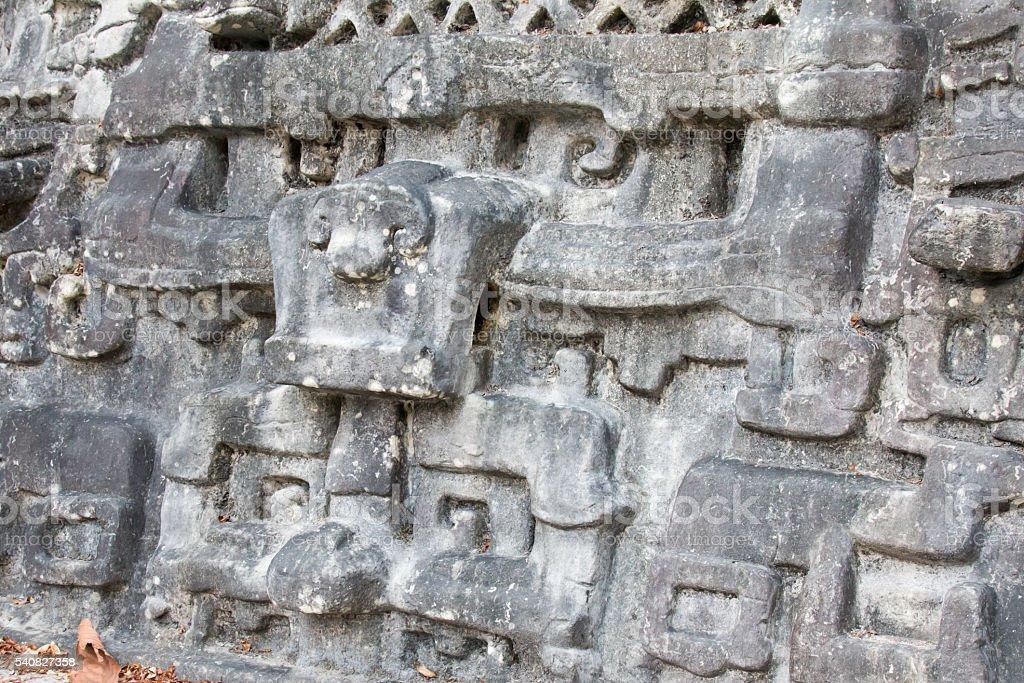 Jaguar stele at Caracol in Belize stock photo