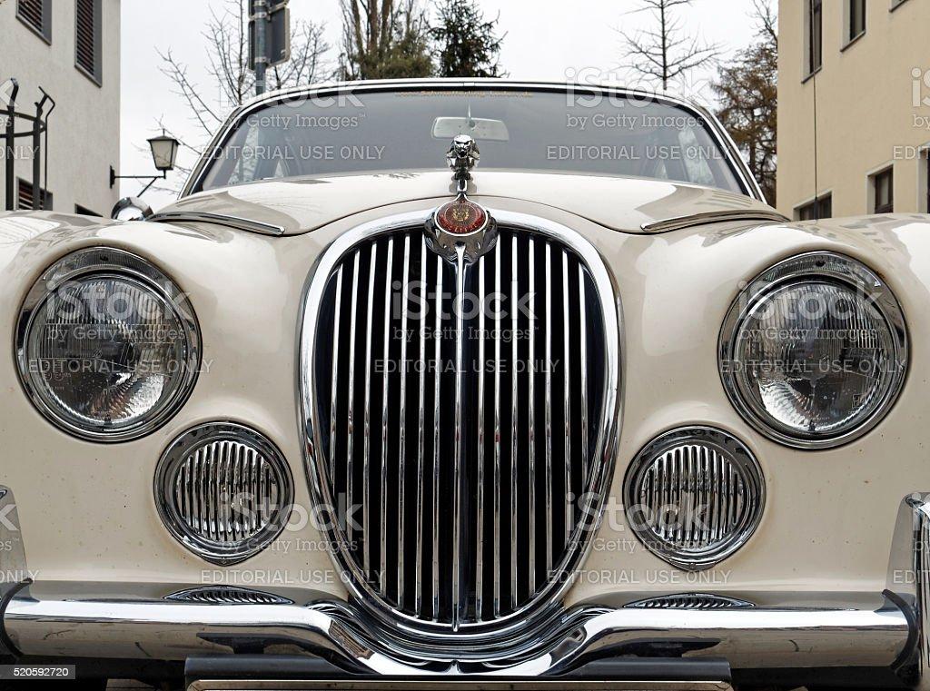 Jaguar Vintage Classic Car - Front view stock photo