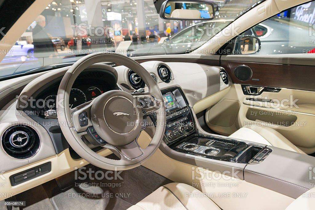Jaguar XJ Luxo Saloon Interior De Carro Foto Royalty Free