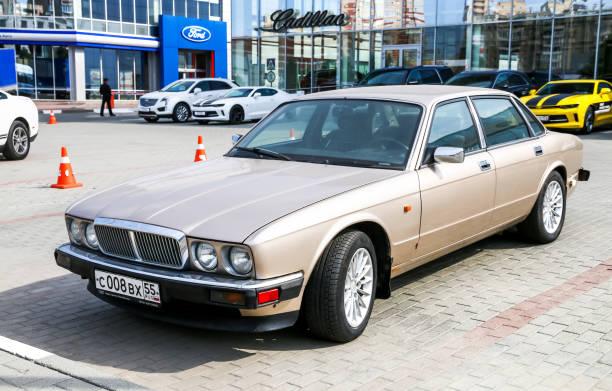 Jaguar XJ Chelyabinsk, Russia - September 3, 2017: Motor car Jaguar XJ in the city street. jaguar xj stock pictures, royalty-free photos & images