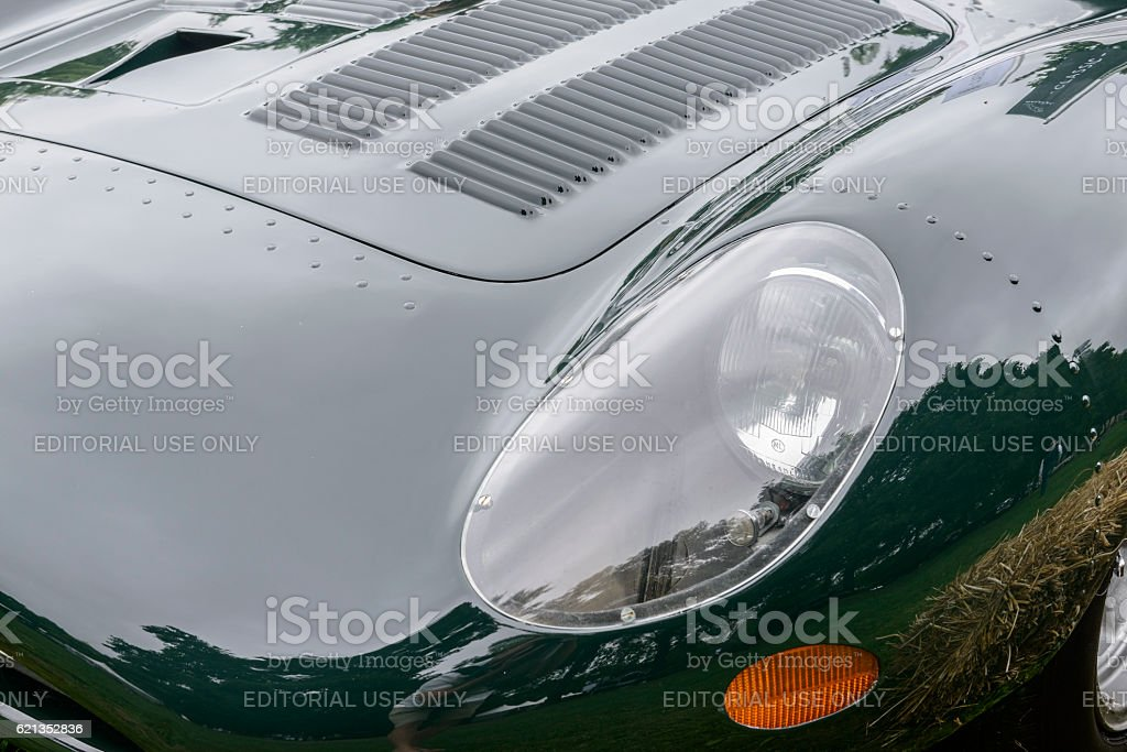 Jaguar XJ13 1960s Le Mans race car prototype detail stock photo