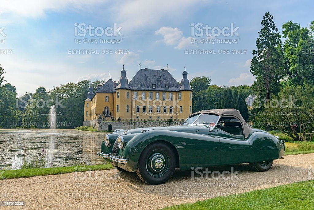 Jaguar XK 120 roadster classic sports car stock photo
