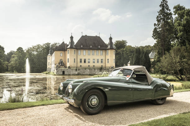 Jaguar XK 120 roadster classic sports car Jaguar XK 120 classic sports car in front of Schloss Dyck. The car is on display during the 2014 Classic Days event at Schloss Dyck. jaguar cat stock pictures, royalty-free photos & images
