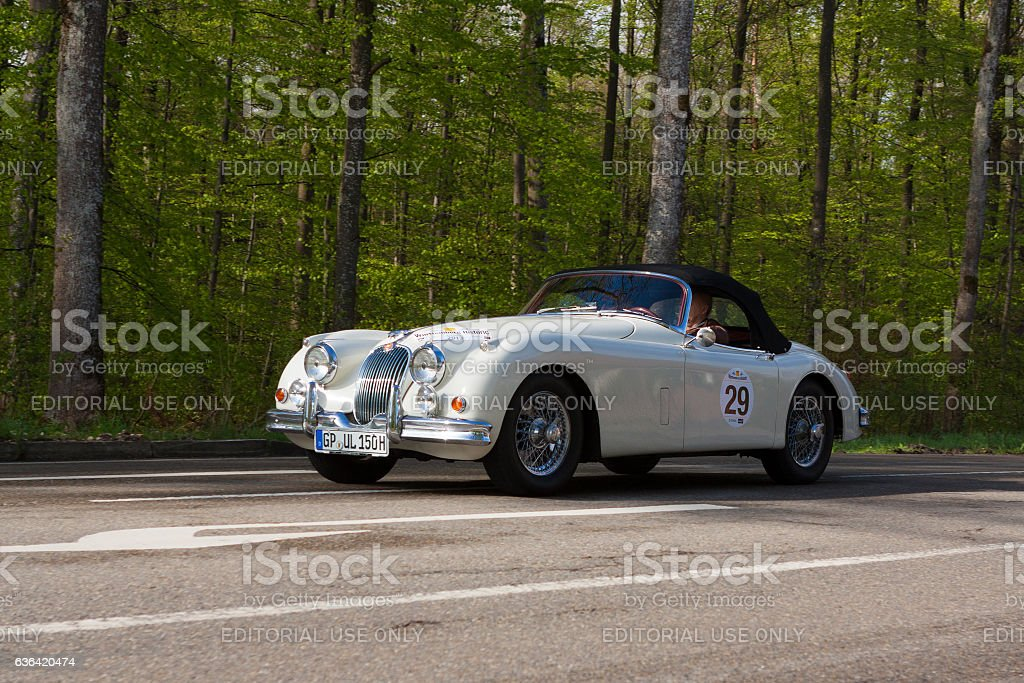 1958 Jaguar XK 150 S at the Wurttemberg Historic Rallye stock photo
