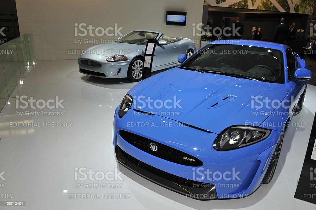 Jaguar XK and XKR-s sports cars stock photo